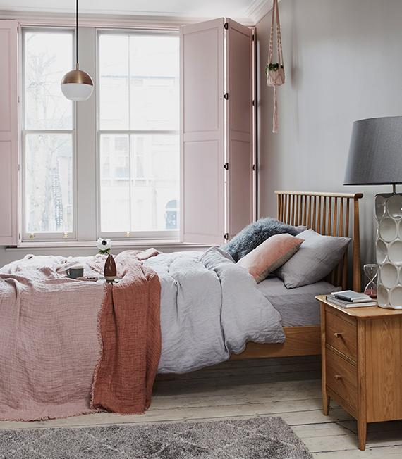 Fresh pink Scandi style bedroom