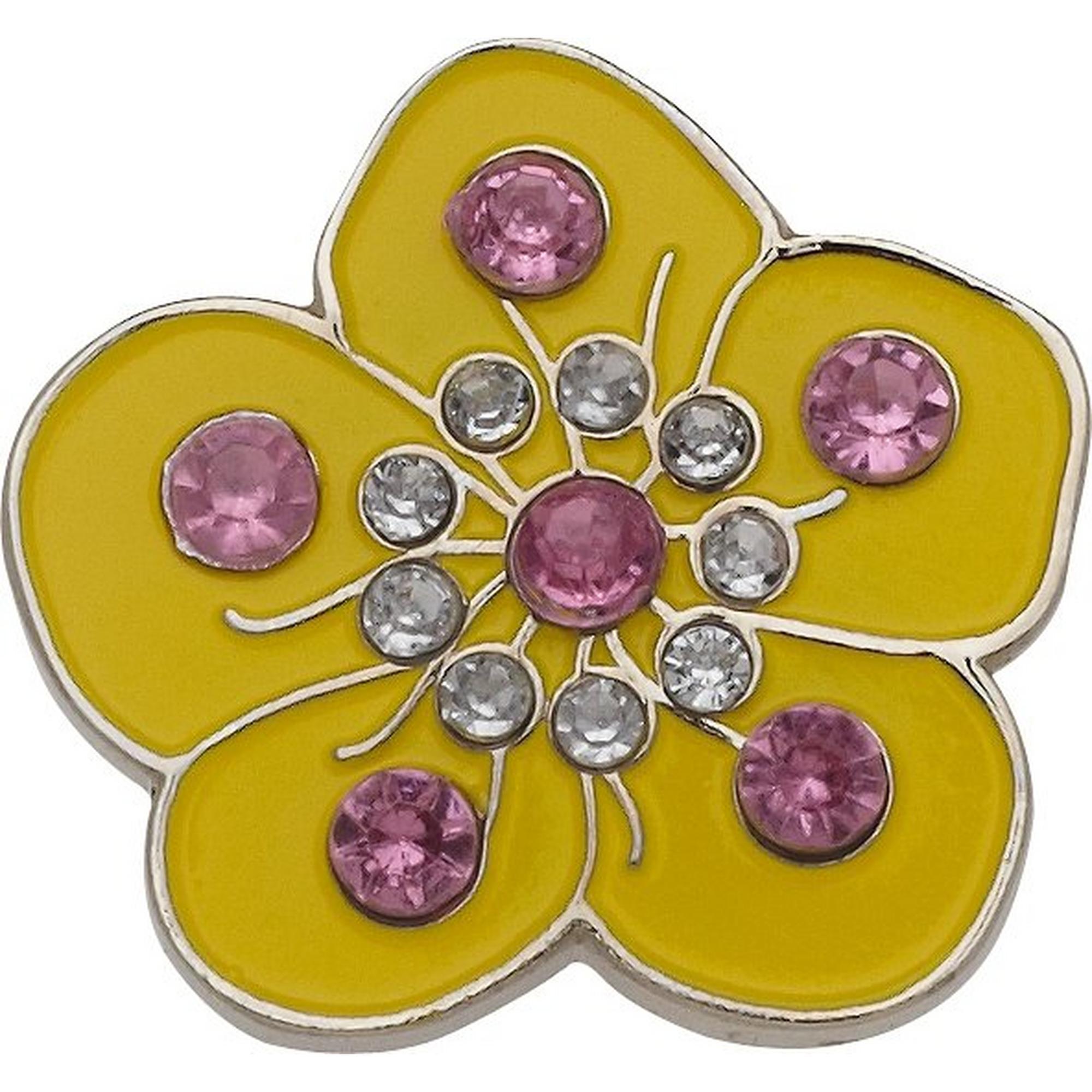 Marqueur de balle fleur jaune avec cristaux