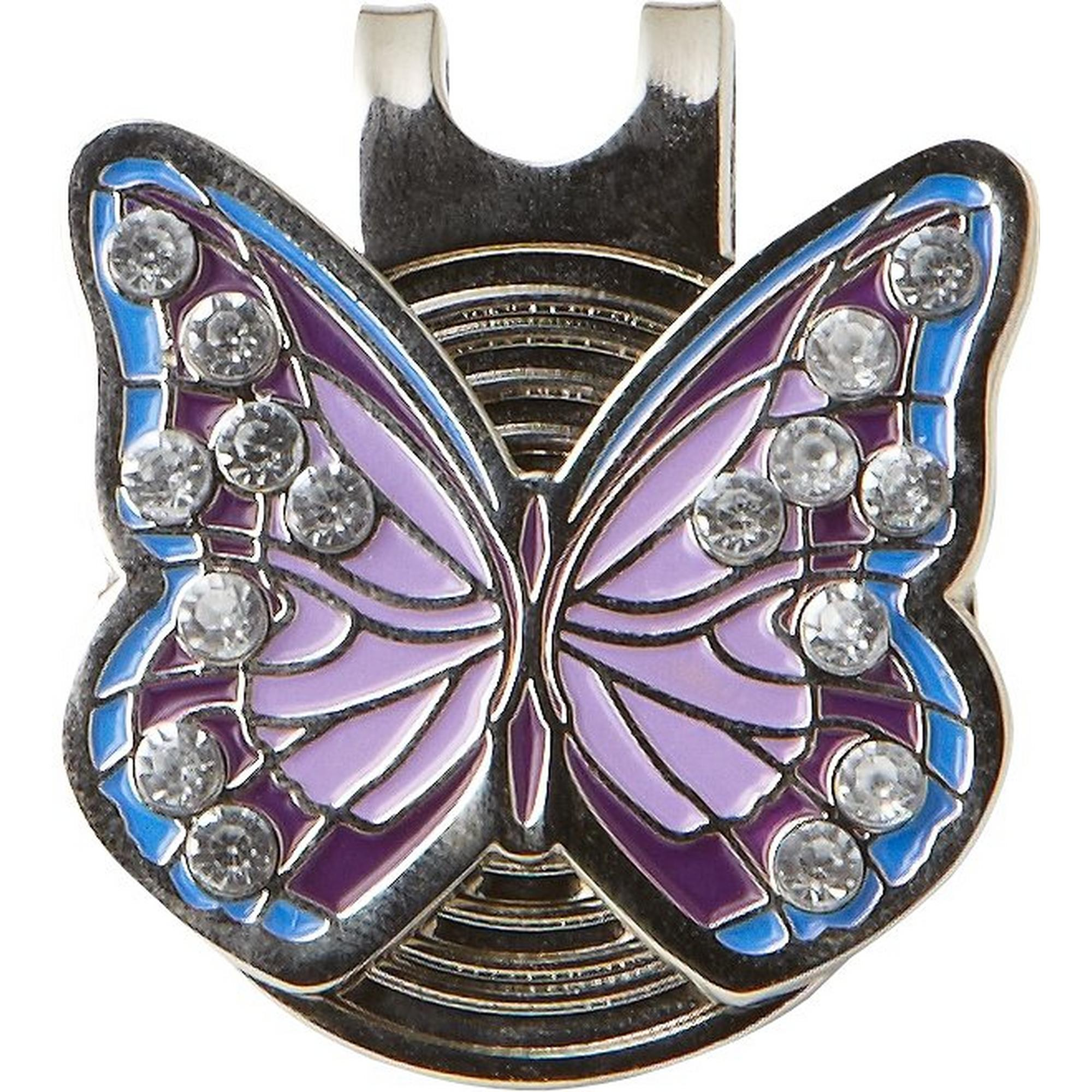 Purple Butterfly crystal ball marker with cap clip