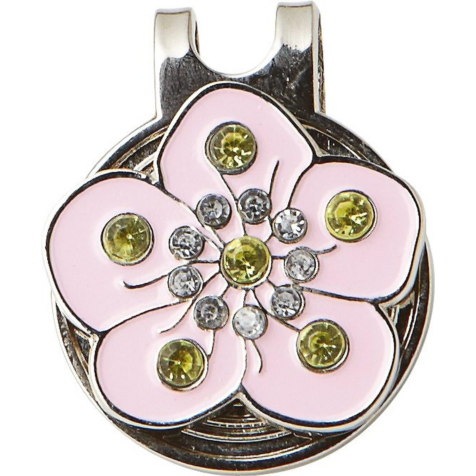 Pink Flower Crystal Ball Marker with Cap Clip
