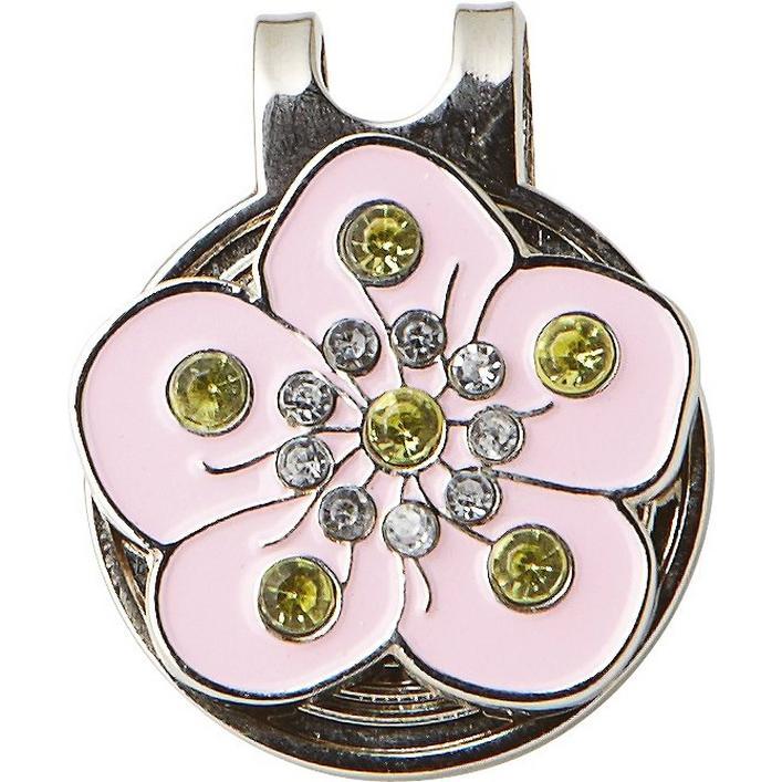Marqueur de balle fleur rose avec cristaux