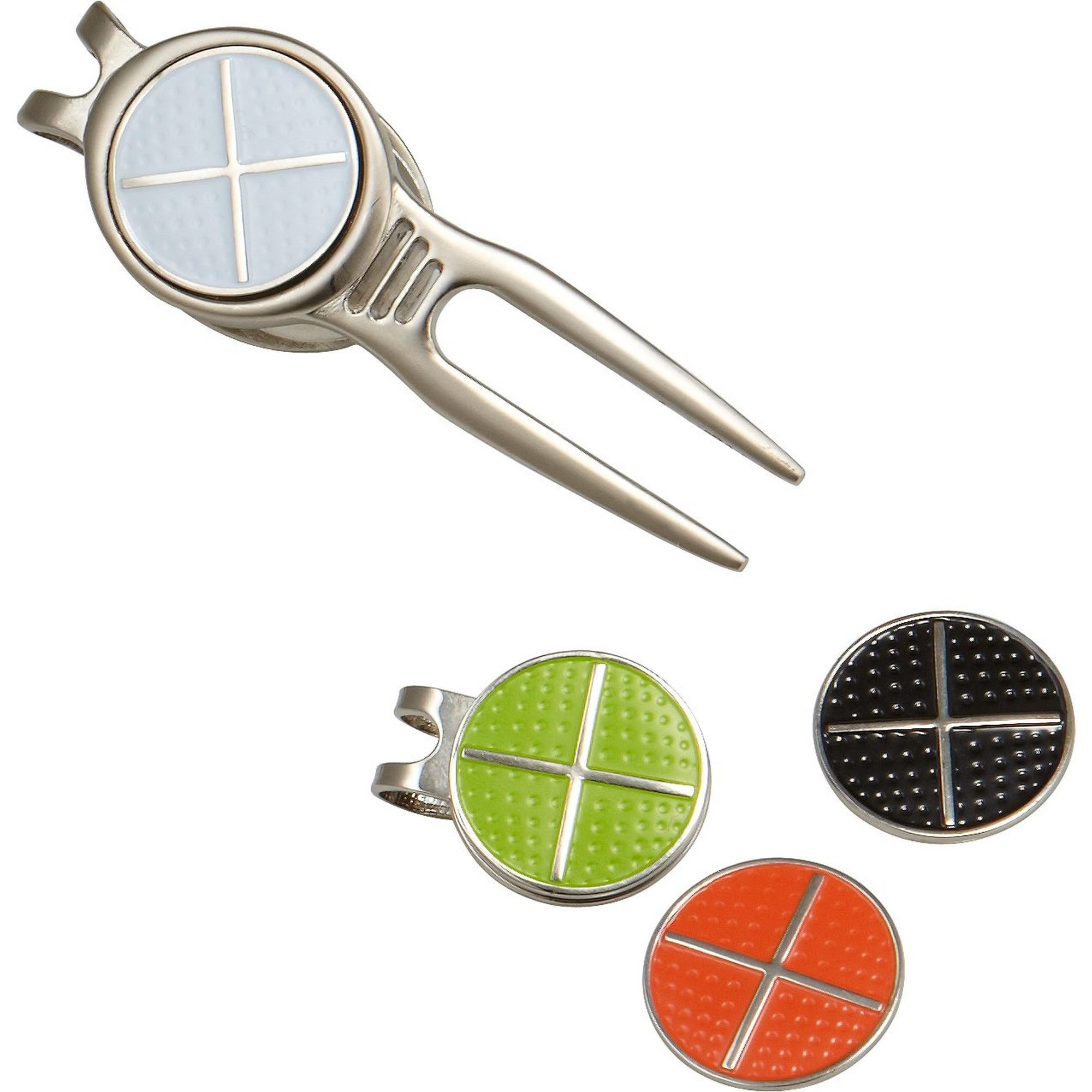 Outil réparation avec marqueurs de balles noir, blanc, vert et orange