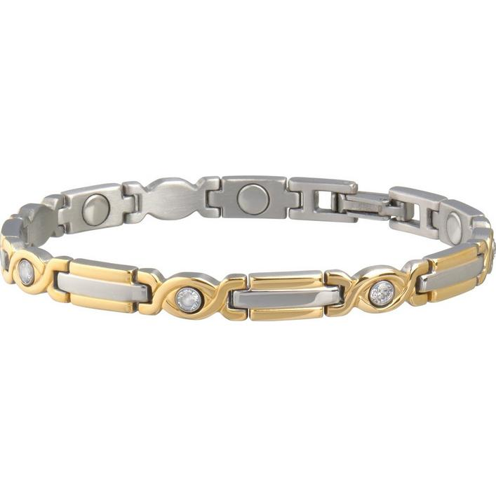 Lady Executive Two-Tone Gem Magnetic Bracelet
