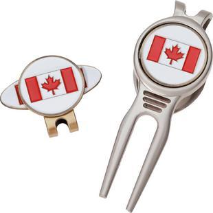 Ensemble de fourchette à gazon avec drapeau canadien