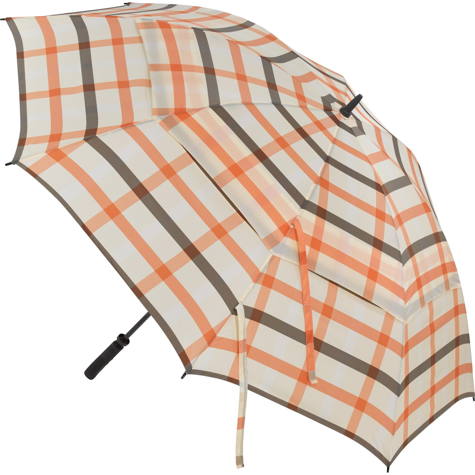 Parapluie Windbuster de 68 po à carreaux orange et blanc