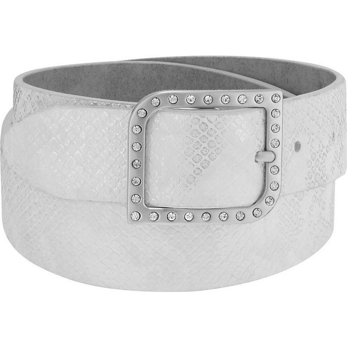 Women's Metallic Python Rhinestone Wave Buckle Belt