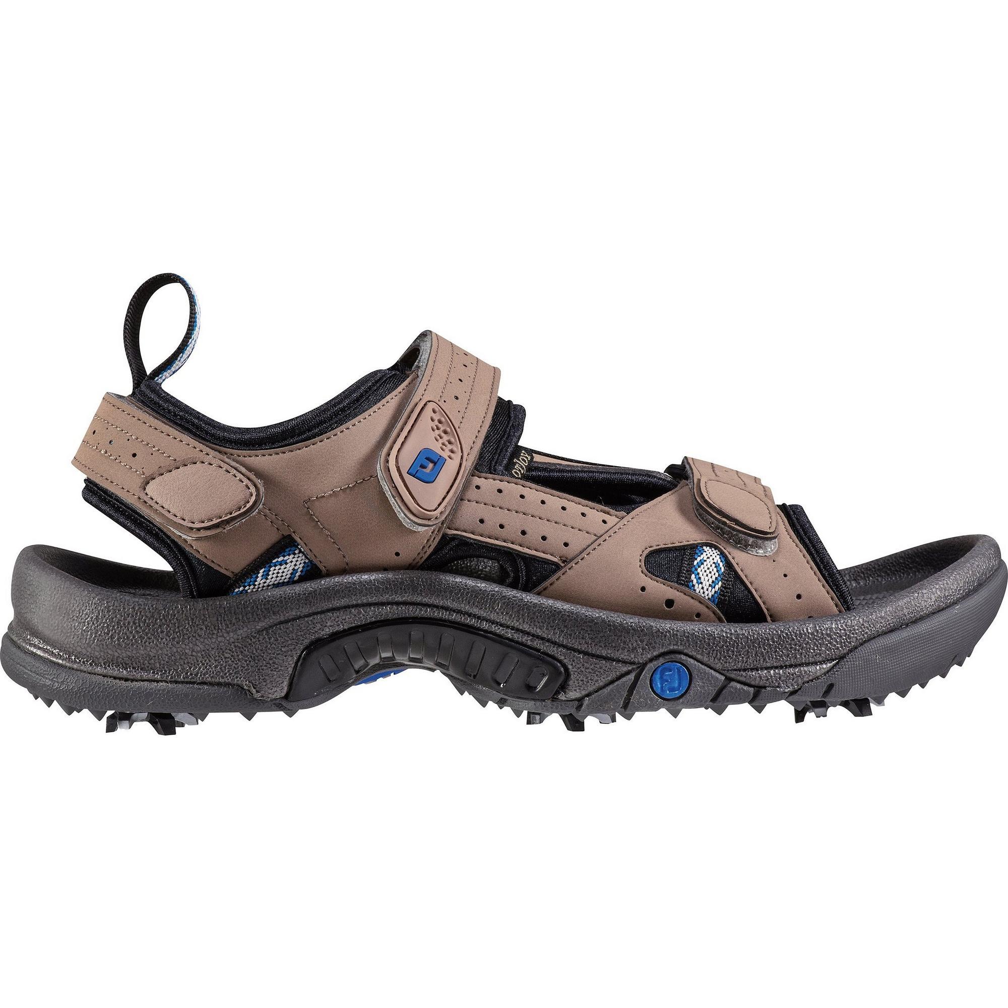 Sandales de golf GreenJoys à crampons pour hommes - Brun