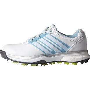 Women's Adipower Boost 2 Spiked Golf Shoes - White/Soft Blue/Sunny Lime