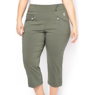 Pantalon 7/8 sergé extensible à taille élastique taille plus pour femmes