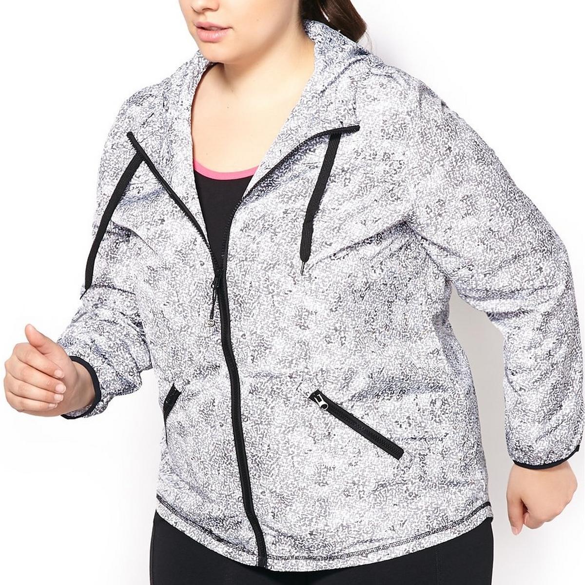 e3639371aeecd Active Zone Women s Plus Size Graphic Print Long Sleeve Full Zip Wind Jacket