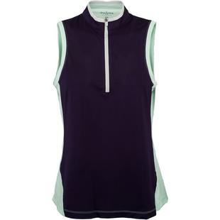 Women's Colourblock Zip Sleeveless Mock