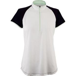 Women's Mesh Zip Short Sleeve Mock