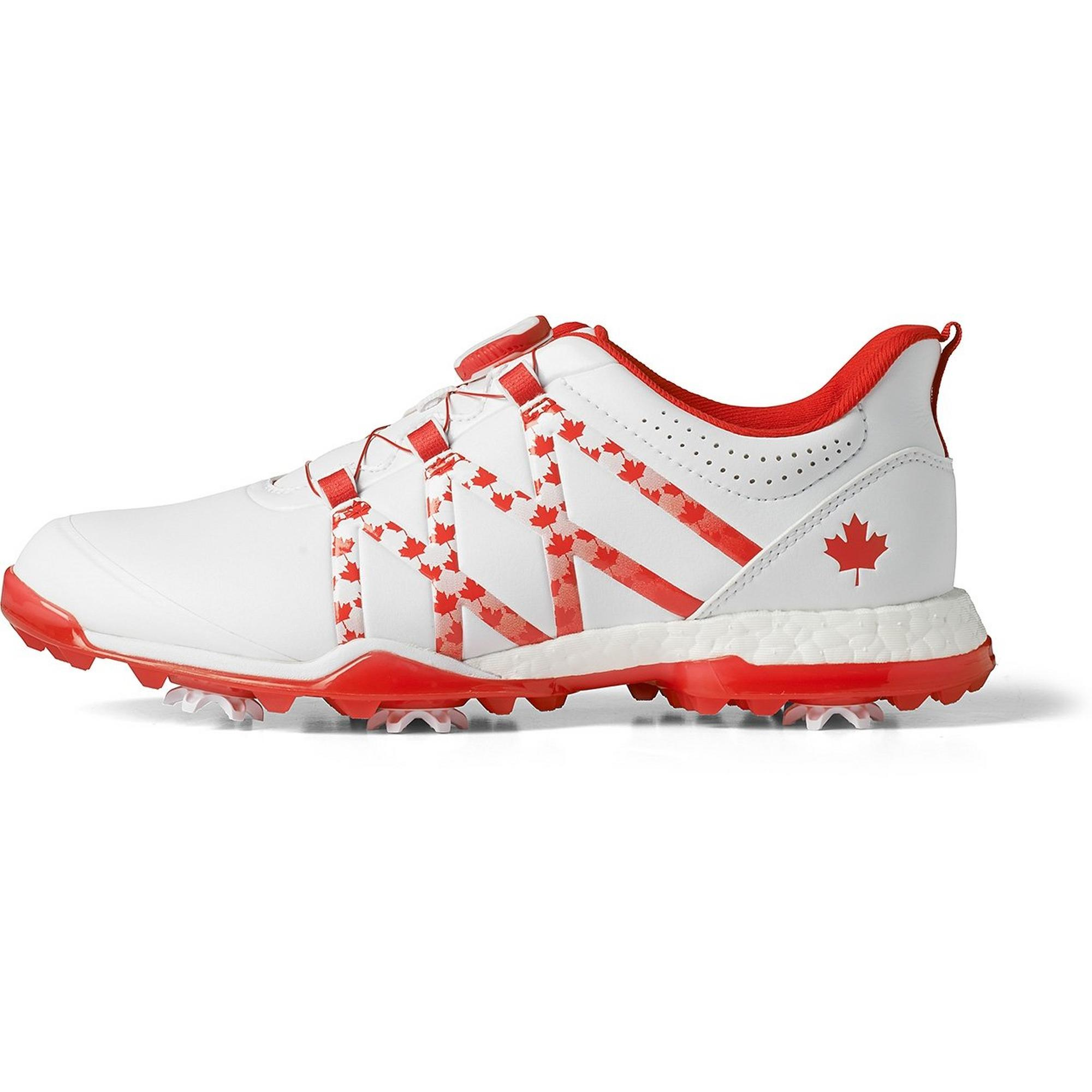 Chaussures Adipower Boost Boa à crampons pour femmes – Blanc/Rouge