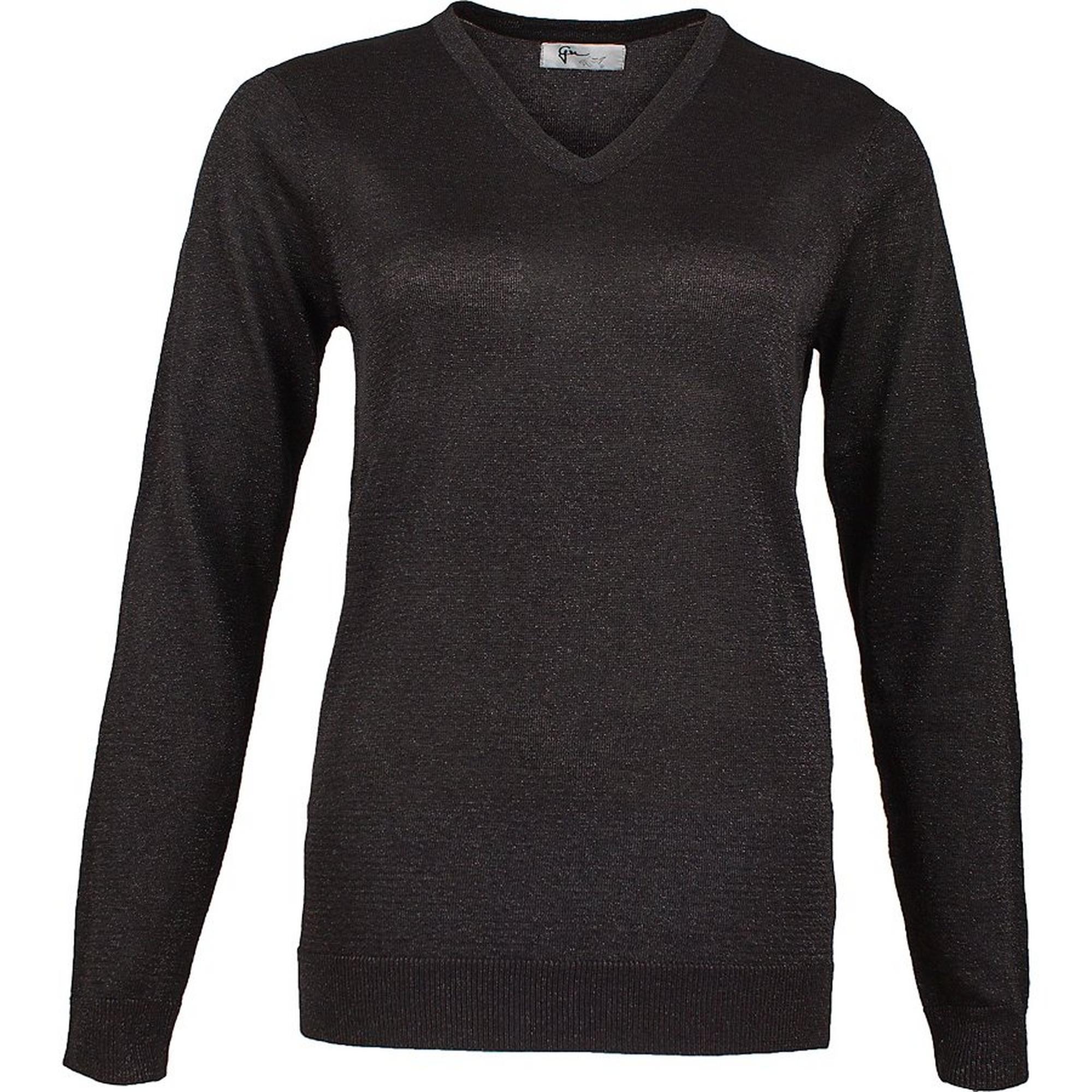 Women's Lurex V-Neck Long Sleeve Sweater