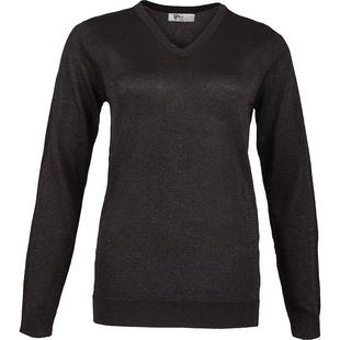 Women's Lurex V-Neck Long Sleeve Sweater
