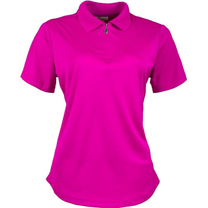 Women's Rib Collar Yoke Details Short Sleeve Polo