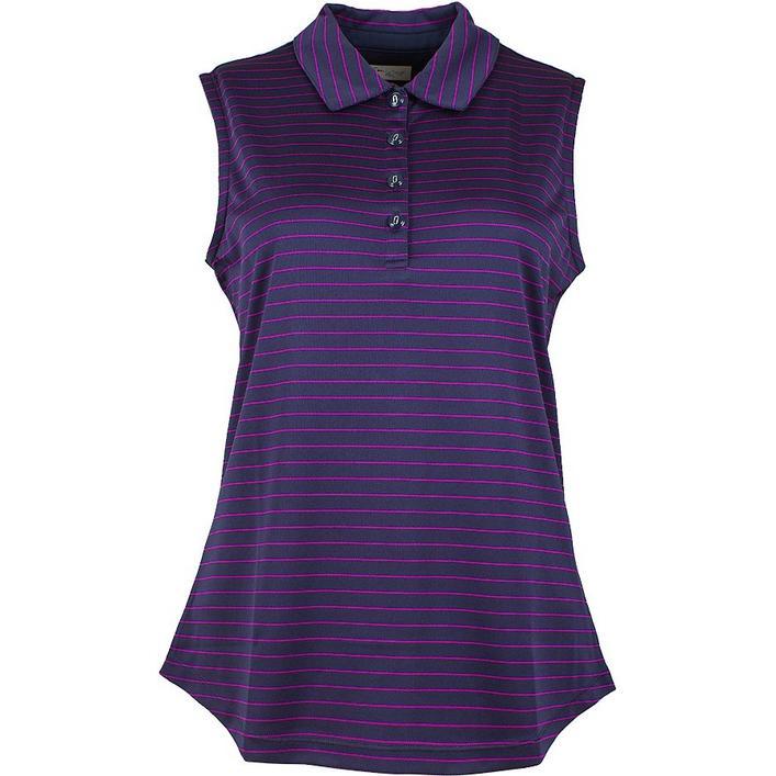 Women's Fine Stripe Sleeveless Polo