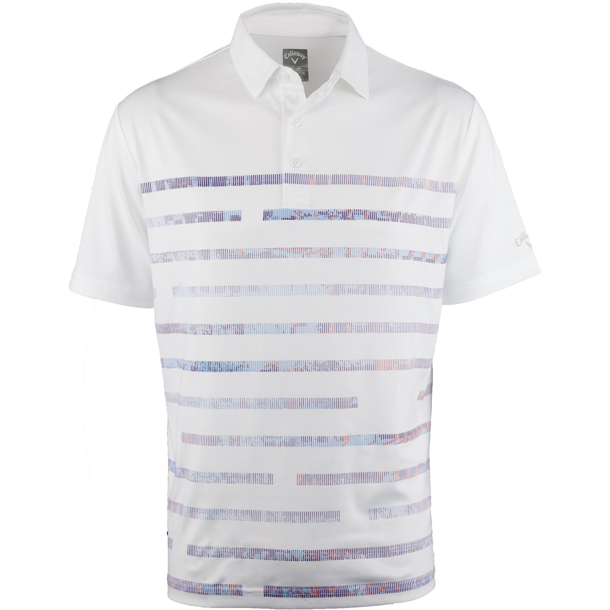 Men's Stretch Textured Linear Printed Short Sleeve Polo