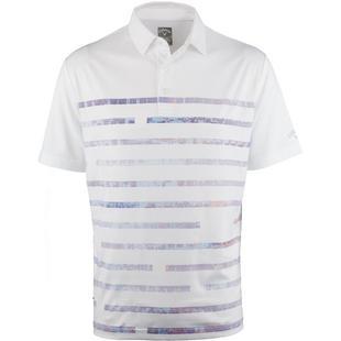 Polo extensible texturé à imprimé linéaire avec manches courtes pour hommes