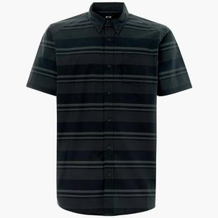 Men's SS Stripe Woven Short Sleeve Polo