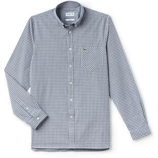 Men's Slim Fit Giant Check Cotton Poplin Long Sleeve Shirt