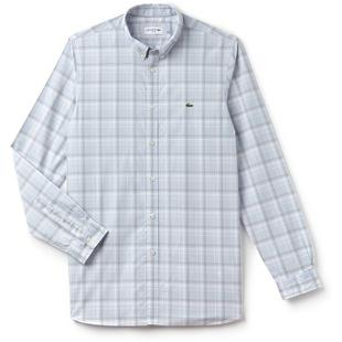 Men's Slim Fit Giant Check Cotton Poplin Long Sleeve Shirt