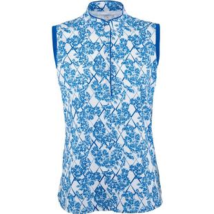 Womens Sleeveless Floral Print Snap Placket Polo