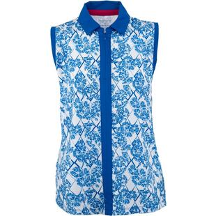 Womens Sleeveless Floral Print Centre Placket Polo