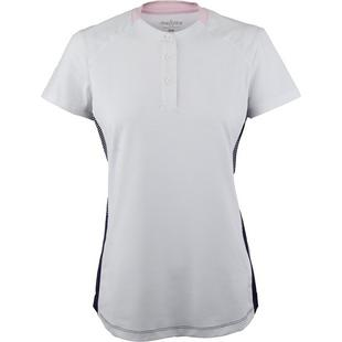 Womens Short Sleeve Henley Neckline Top