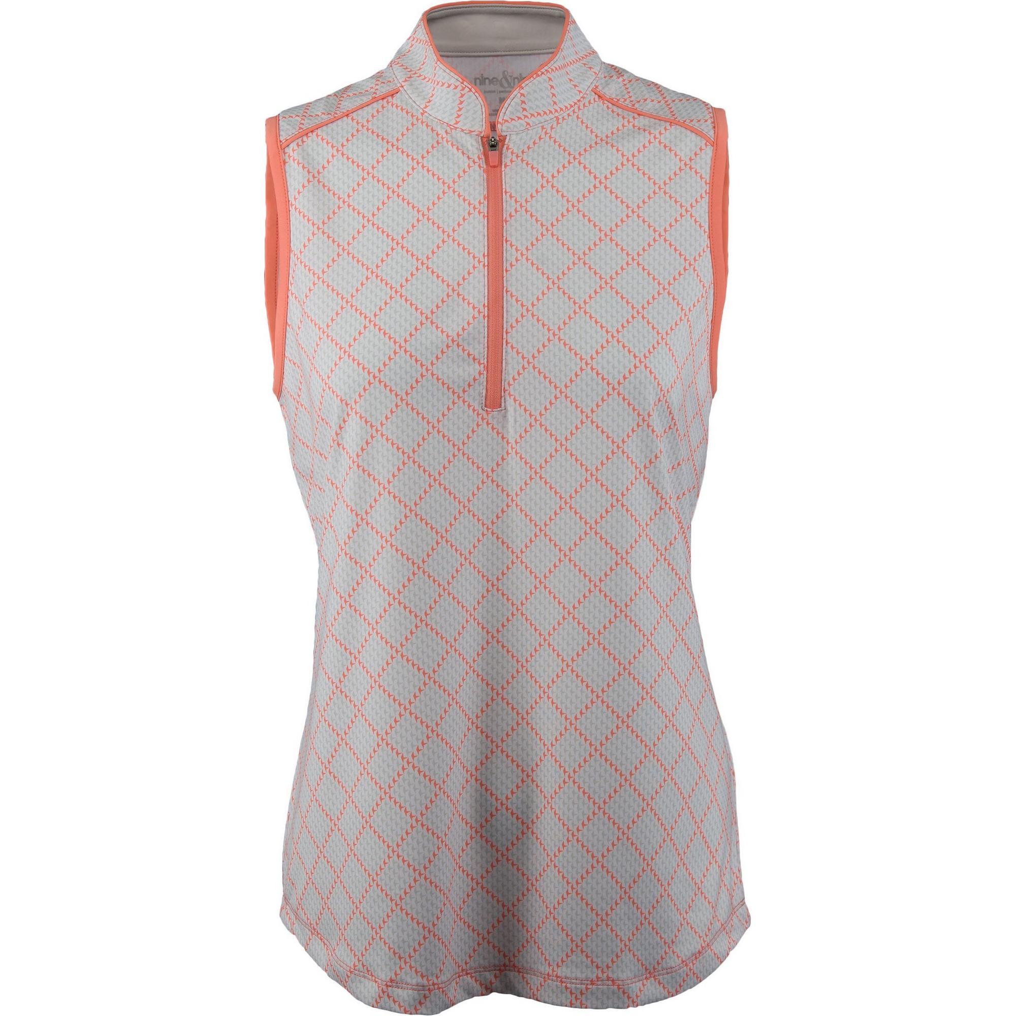 Women's Sleeveless Herringbone Check Print Mock Neck Top