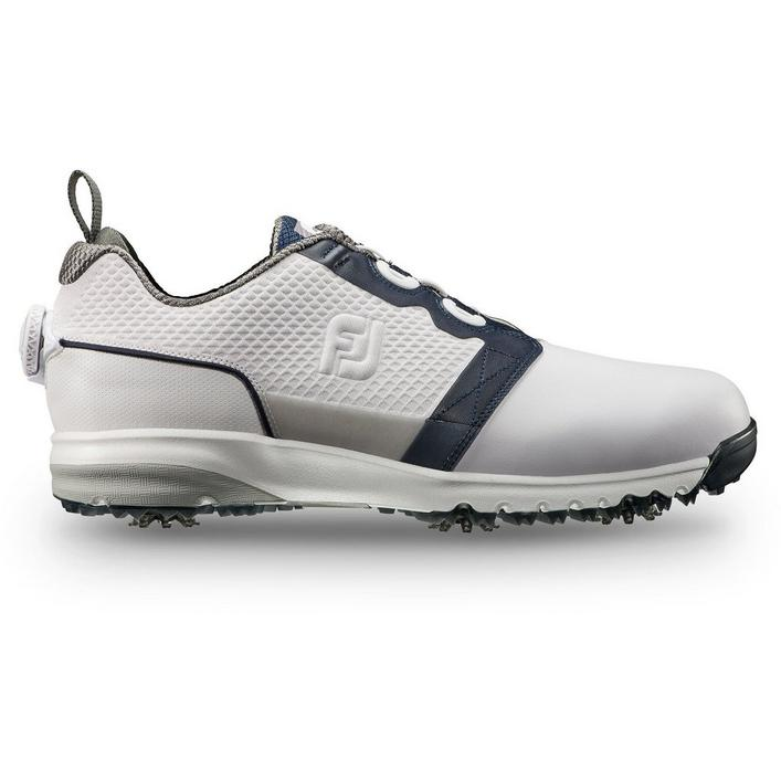 Mens Contour Fit Boa Spiked Golf Shoe - WHT/NVY