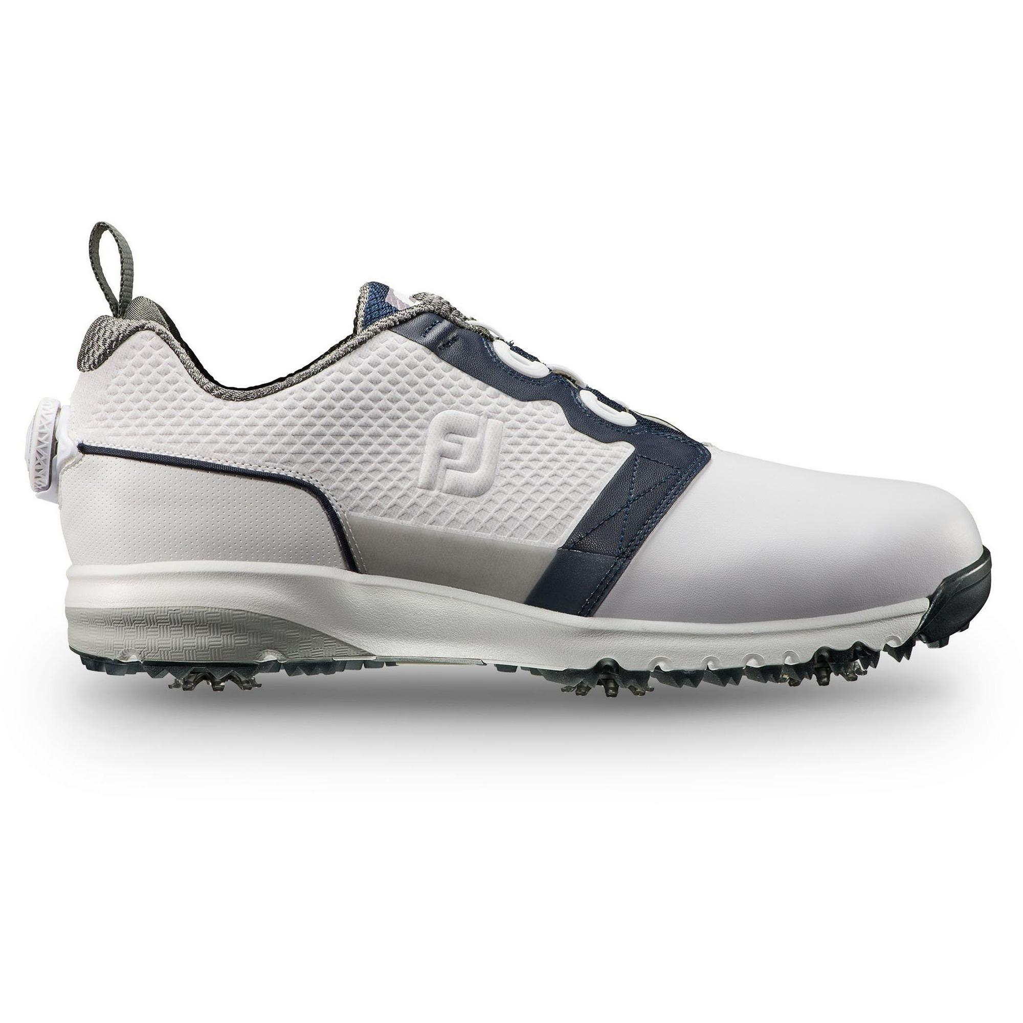 Mens ContourFIT Boa Spiked Golf Shoe - White/Navy