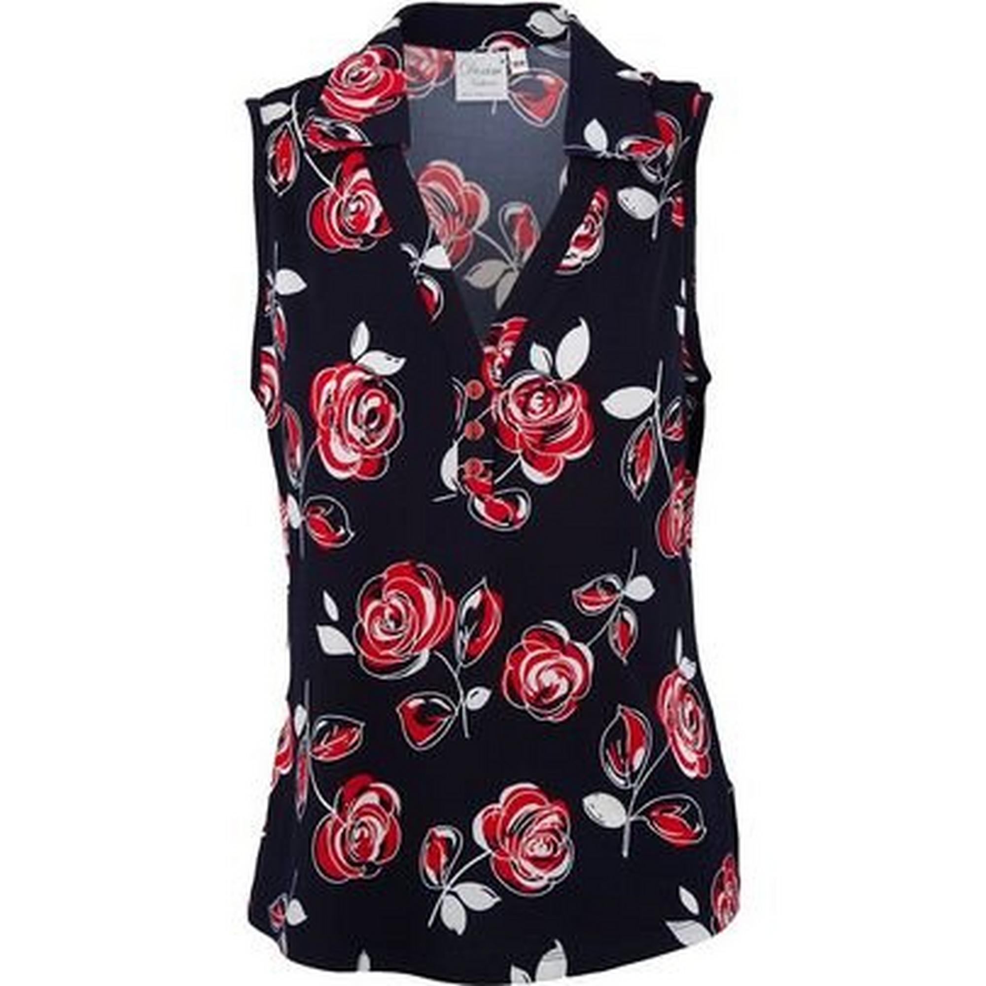 Women's Sleeveless Print Polo