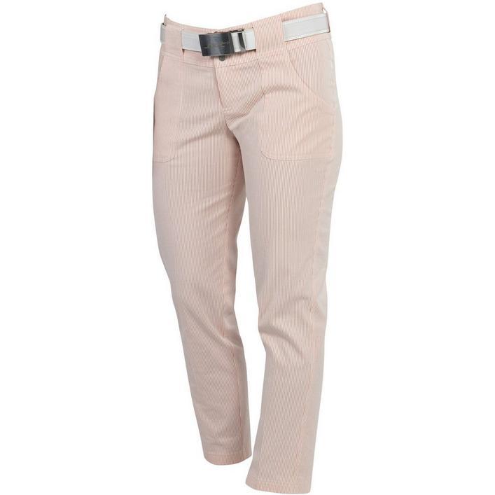 Women's Belted Seersucker Cropped Pant