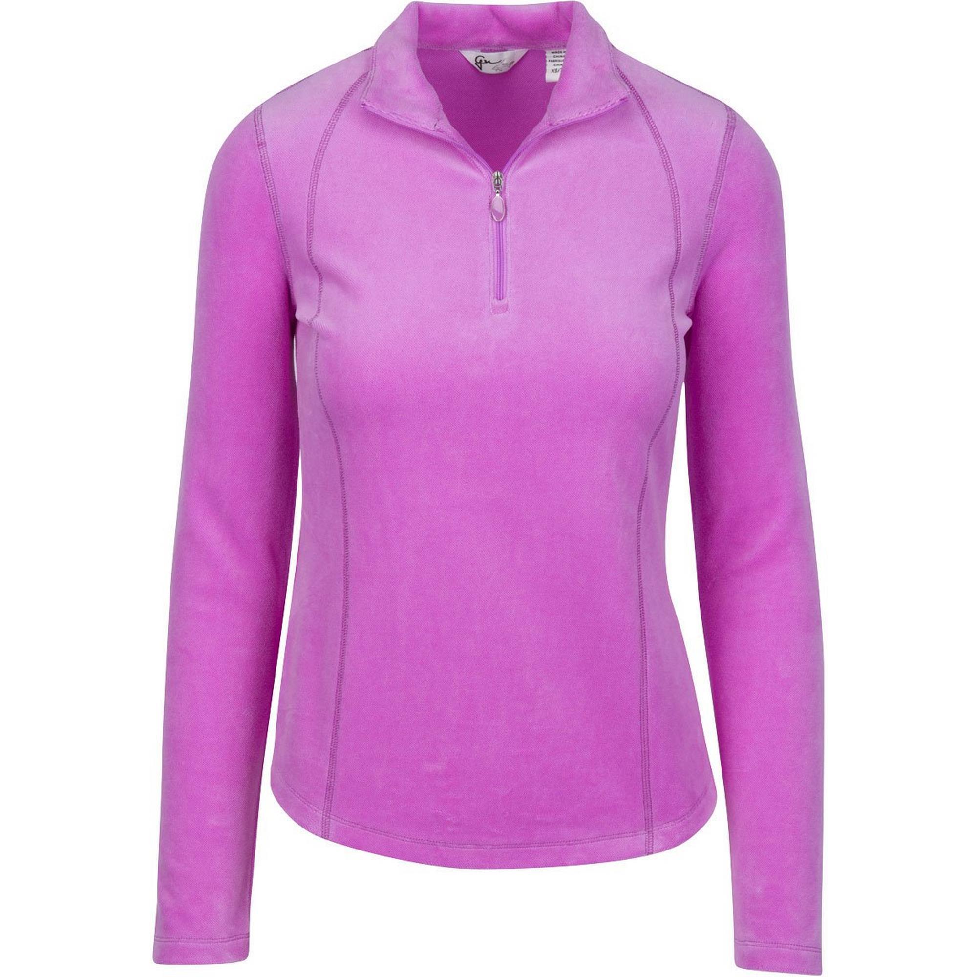 Women's Quarter Zip Plush Pique Velour Long Sleeve Pullover