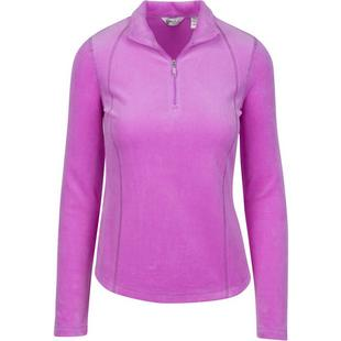 Women's Quarter Zip Plush Pique Velour Long Sleeve Pullover