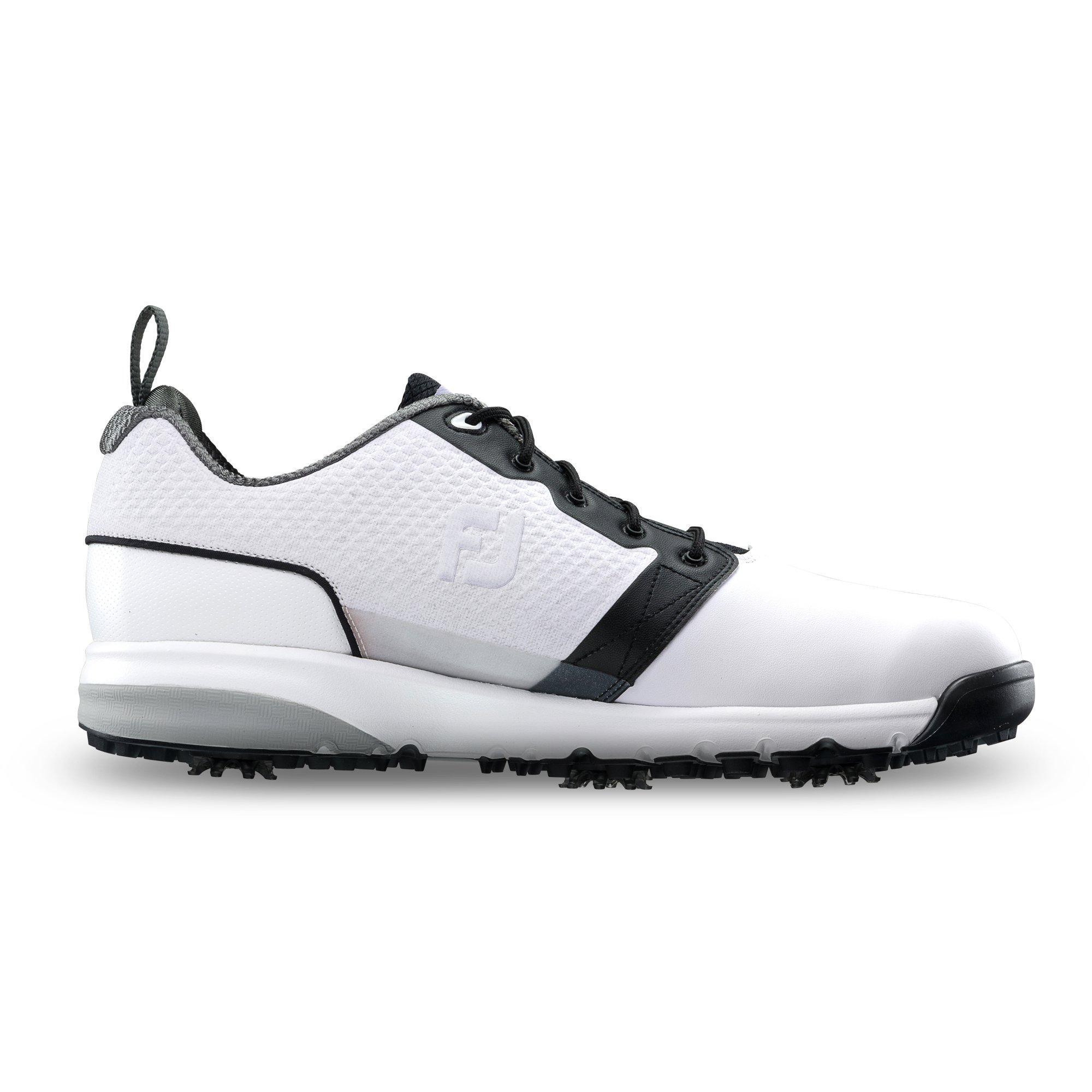 Men's Contour Fit Spiked Golf Shoe - White/Black