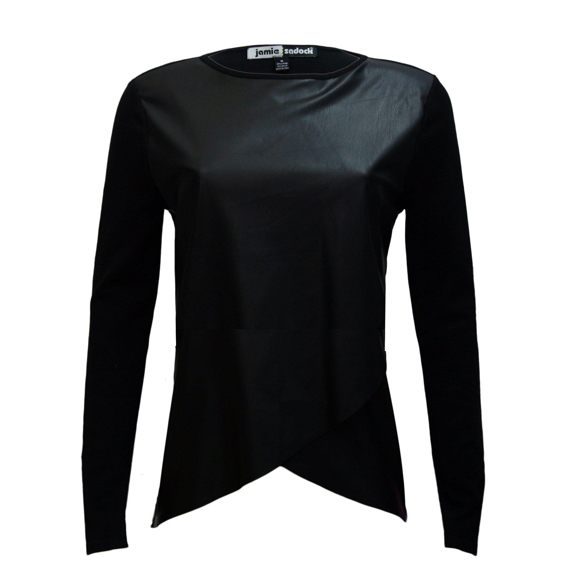 Women's Traveluxe Faux Leather Long Sleeve Top