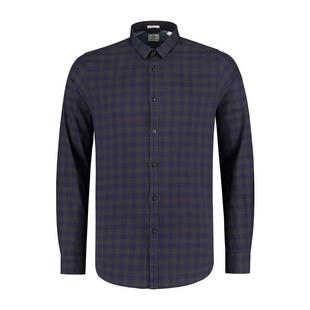 Men's Tonal Block Check Peach Twill Woven Long Sleeve Shirt
