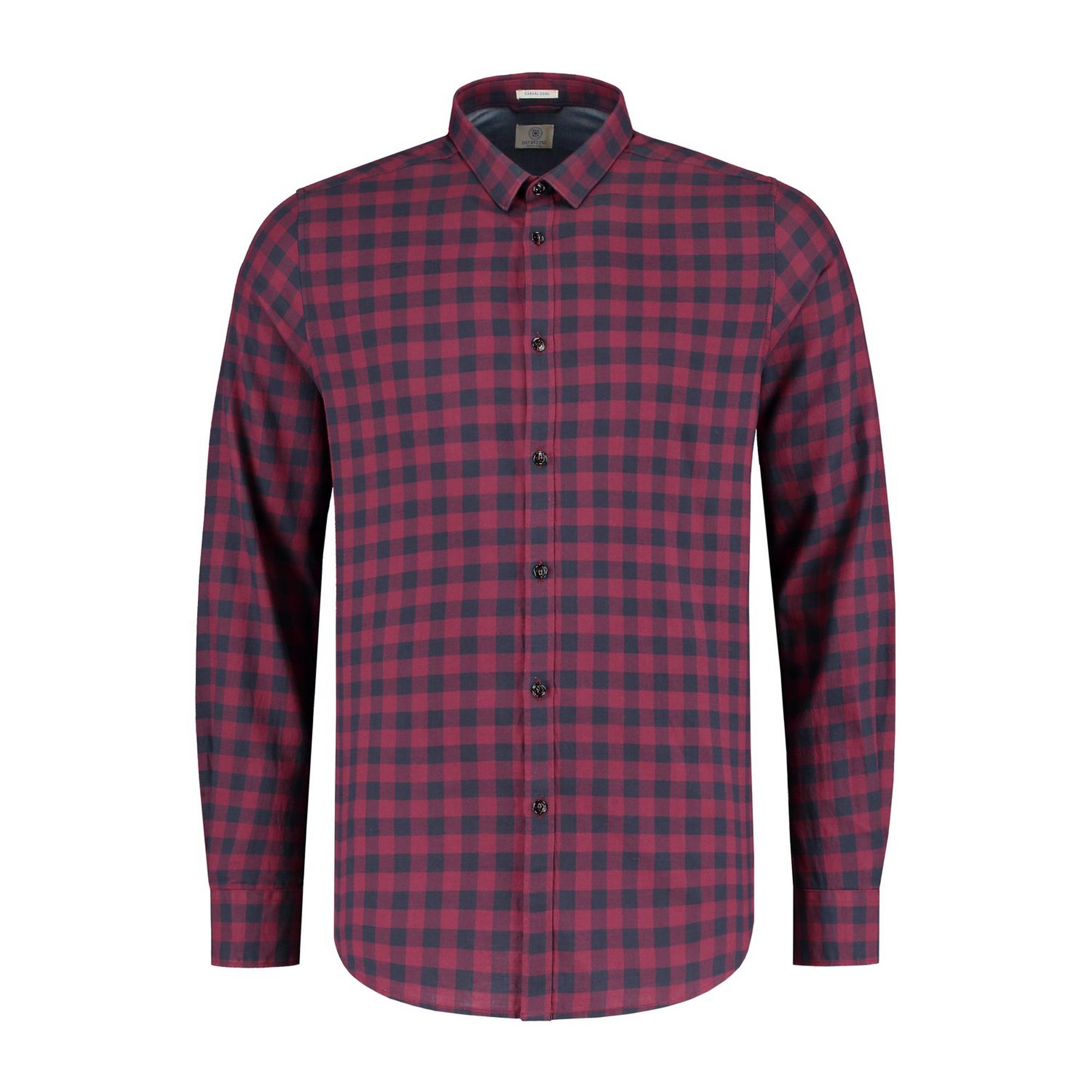 Men's Tonal Block Check Peach Twill Woven Long Sleeve Shirt