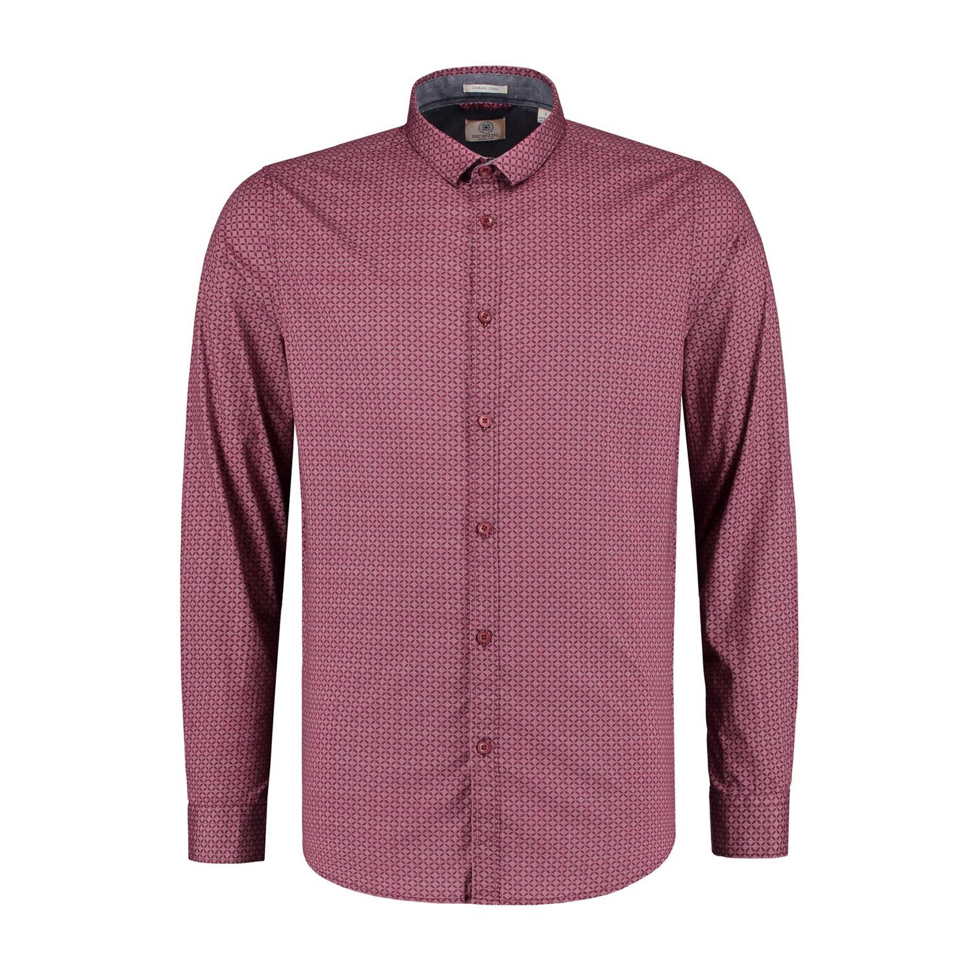 Men's Diamond Dot Stretch Poplin Woven Long Sleeve Shirt