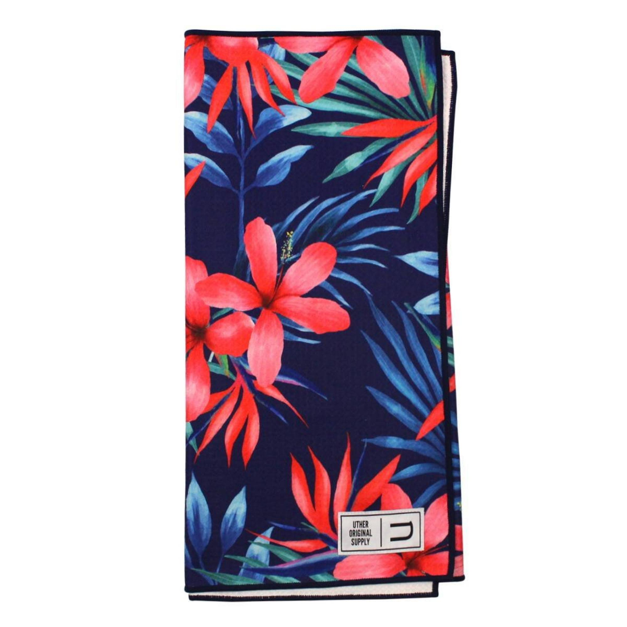 Microfiber Tour Golf Towel - Cyan Floral