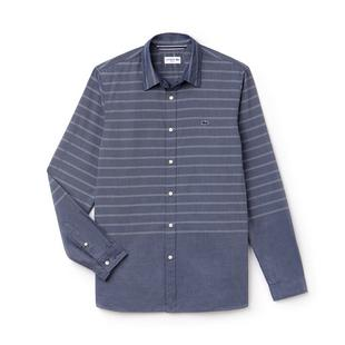 Men's Wide Stripe Woven Long Sleeve Shirt