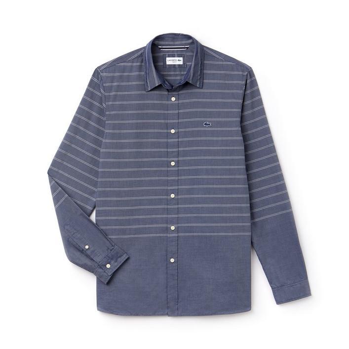 Men's Wide Stripe Woven Long Sleeve Shirt