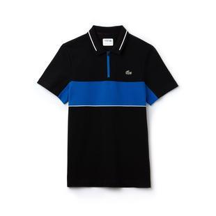 Men's Contrast Bands Technical Pique Short Sleeve Polo