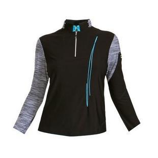 Women's Half Zip Embellished Long Sleeve Top