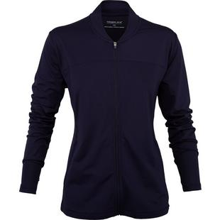 Women's Fashion Mock Neck Full Zip Long Sleeve Jacket