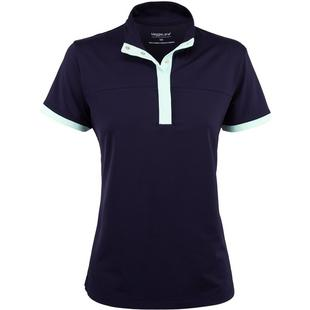Women's Snap Mock Neck Short Sleeve Polo