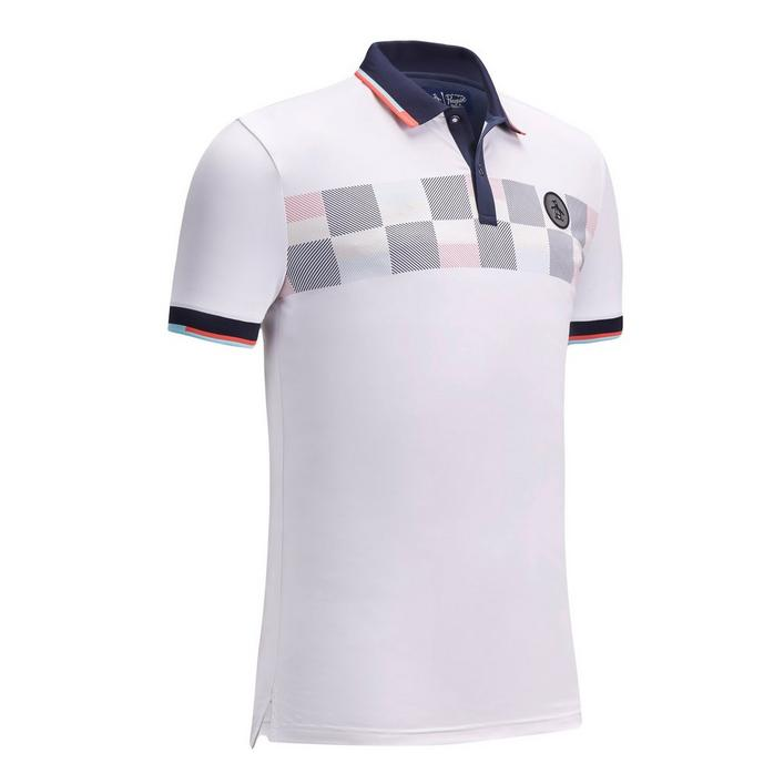 Men's Check Print Block Short Sleeve Stretch  Shirt