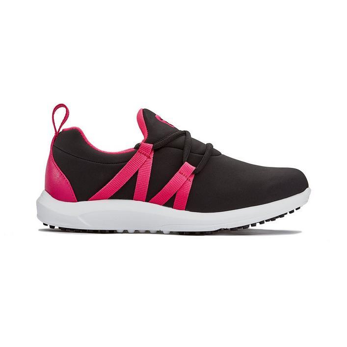 Women's FJ Leisure Slip On Spikeless Shoe - BLACK/PINK